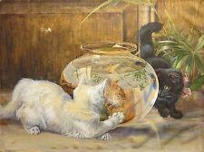 Edmund Caldwell 1884 cat kittens goldfish bowl triptych painting English artist