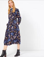 Neue m&s Midi Blume Kleid PRINT Sommer Vintage Style blau tailliert Boho Größe 12