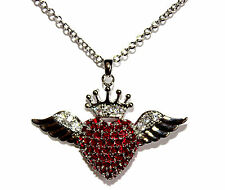 BFA Ruby Red Cz Cubic Zirconia Love Heart Glam Angel Wing Angelic Crown Necklace