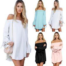 Women Summer Long Sleeve Sundress Tunic Top Off Shoulder Club Party Short Dress