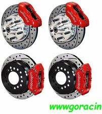 "WILWOOD DISC BRAKE KIT,1965-1969 FORD MUSTANG,11"" Drilled Rotors, Red Calipers"