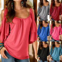Women Ladie Cold Shoulder Loose T-shirt Summer Blouse Double Sleeve Tee Top Boho
