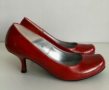 Gorgeous SCHUH Red Patent Mid Heel Court Shoes Square Toe ~ UK 7 /40~ Womens