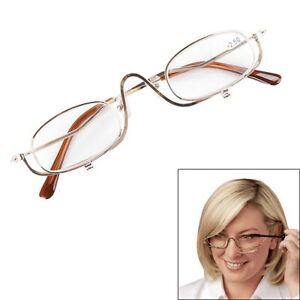 Magnifying Make Up Eye Glasses Spectacles With Pouch Flip Down Lens +2.0-4.0