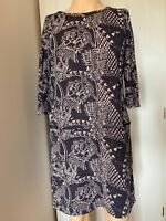 White Stuff Dress Tunic Top UK Size 14 Womens Ladies Blue Pockets Print Summer