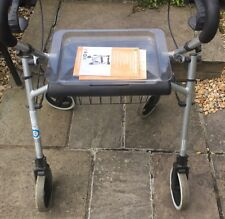 Aluminium Rollator Walking Frame with Seat, Tray and Integrated Shopping Basket