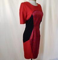 ETCETERA RED BLACK COLORBLOCK SHEATH DRESS sizes 0 2 4 6 8  NEW $295