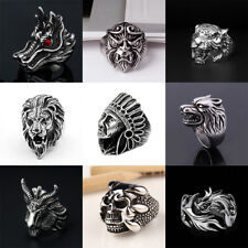 Vintage Skull Stainless Steel Large Apache Indian Chief Head Shield Biker Ring