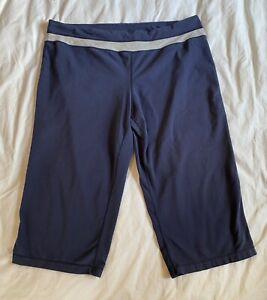 Womens Danskin Now Plus Size 2X Blue Elastic Waist Capri Leggings