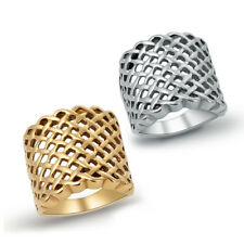 316L Stainless Steel Silver Gold Fashion Grid Couple Fashion Ring Set For Lovers