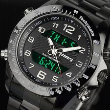 INFANTRY Herren Armbanduhr Digital Sport Chronograph Edelstahl Schwarz Flieger