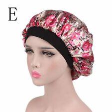 Fashion Wide Band Night Sleep Hat Ladies Turban Hair Cap Satin Bonnet E