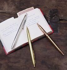 Kikkerland Set Of 3 Vintage Metal Retro Style Ballpoint Pens Black Ink Pen Gift