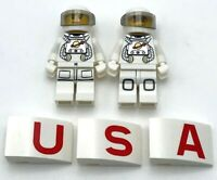 Lego 2 New Space Astronauts Minifigures with USA Sloped Bricks American Team
