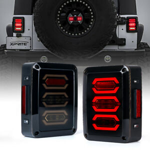 Xprite G3 Diamond LED Taillight Black with Smoke Lens For 07-18 Jeep Wrangler