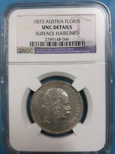 1873 AUSTRIA 1 florin NGC UNC Details (FRANZ JOSEPH) Silver 0.90
