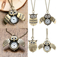 1Pc Retro Owl Wings Bronze Open Face Pocket Watch Necklace Key Ring Chain Gift