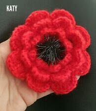 """Large 3.94"""" Knitted Crocheted Red Poppy 3D Flower Broach Brooch Vintage Pin Gift"""