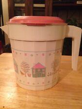 VTG PACKERWARE 1qt Plastic Pitcher Blue Pink Cottage Farm Theme HTF RARE USA