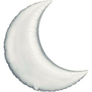 """30"""" Silver Crescent Moon Shape Mylar Foil Balloon Party Decorating Supplies"""