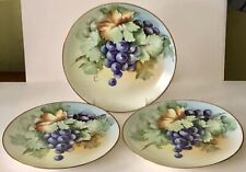 Antique Hand Painted Grapes Hutschenreuther Porcelain Selb Bavaria Plates X3 Set