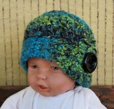 Crochet Hat, Baby Wool Beanie, Pattern Skull Cap, Hand Crochet Knit Green Winter