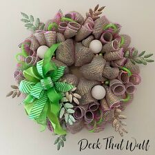 Pink and Lime Green Christmas Mesh Wreath by Deck That Wall