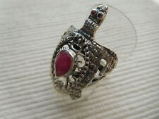 BAGUE ARGENT MASSIF VERITABLE 925 TORTUE REPTILE RUBIS ROUGE TAILLE 59 B57
