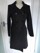 ZARA WOMAN COAT size S 8/10 Long Brown 100% Wool Detailed Winter Smart Fitted