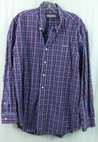 "Vineyard Vines men's XL ""whale shirt"" Button Oxford Red Blue Plaid Long Sleeve"