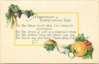 DB Holiday Postcard L007 Thanksgiving Poem Pumpkins Grapes Corn Art Noveau Back