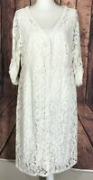 New! TORRID Women's 1 Plus Ivory Floral Lace Overlay Dress w/ Slip Button NWT