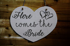 Heart Shaped Wooden Wedding Sign - Here Comes The Bride - Pageboy Sign