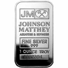 JOHNSON MATTHEY SILVER BAR INGOT 1 OZ .999 FINE SEALED IN PLASTIC RANDOM SERIAL#