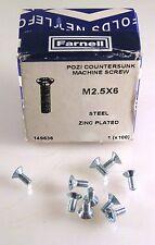 Netlefolds 149636 Pozi Counter/Sk Machine Screw M2.5 x6 Steel/Zinc 10Pcs MBH005f