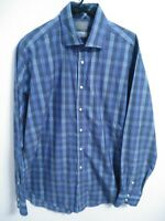 Thomas Dean Mens Size XL Blue Grid Plaid Cotton Long Sleeve Button Up Shirt
