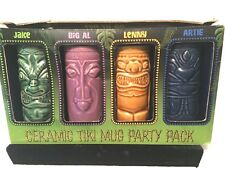 4 Ceramic Tiki Mug Party Pack Colors Tiki To Go Luau Hawaii Bar Aloha Party NOS