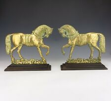Antique Pair Of Victorian Brass Horse Doorstops Or Chimney Ornaments - Lovely!