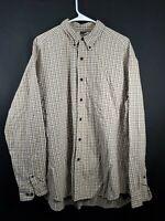 Eddie Bauer Men's large Tan Plaid Button Front Long Sleeve Shirt Button collar