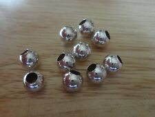 Ten 8mm Large 3.5mm Hole Sterling Silver Spacer Separator Charm Bracelet Beads