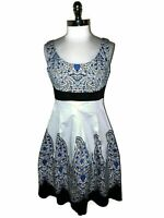 NEW LONDON TIMES Size 12 Dress Blue White Paisley Sleeveless Fit and Flare
