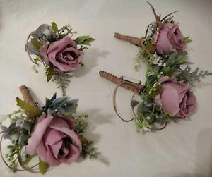 Wedding Guest/Grooms Dusky Pink and Ivory Rose Buttonholes