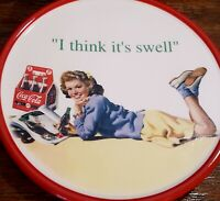 "Vtg Coca Cola Wall 6"" Plaque Plate 1950s teenager ""I think it's swell"""