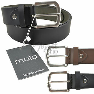 """Mala Leather Quality Hide Thick Jean Belt Black Brown Thick 36-48"""" 40mm Wide"""