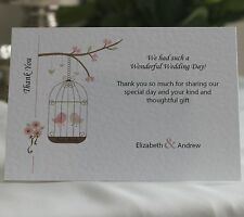 50 Birdcage Personalised Wedding Thank You Cards