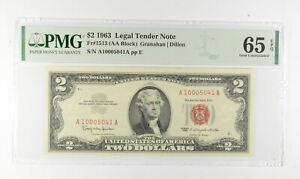 1963 $2 FR1513 (AA Block) Red Seal Graded PMG - 65 EPQ Legal Tender *798
