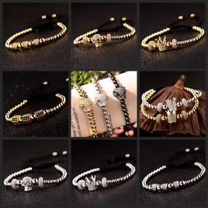 CZ Skull Crown Multi-style Stoppers Adjustable Men's Women Bracelets jewelry