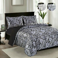 Luxury Pattern Jacquard Duvet Quilt Cover Set W Pillowcases Double King Bed Size