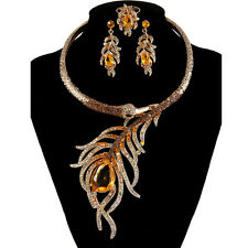 AIMO Peacock Animal Necklace Earrings Ring Set Topaz Rhinestone Crystal Gold GP