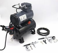 Switzer Double Action Airbrush Kit + Compressor With Tank AS186 Paint Nail Tatoo